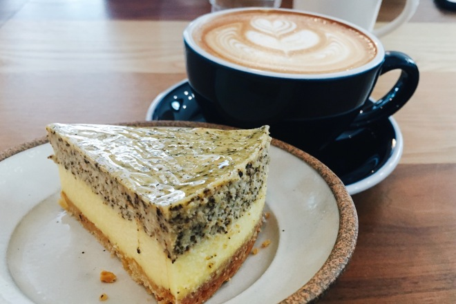 Latte with earl grey cheesecake
